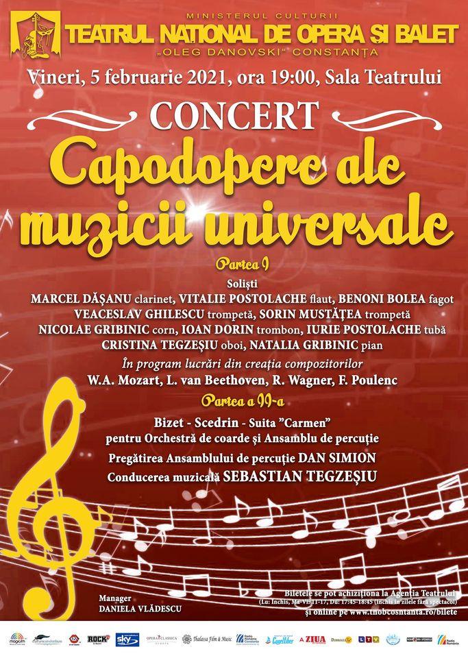 Concert – Capodopere ale muzicii universale la Teatrul Național de Operă și Balet Oleg Danovski